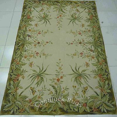 6u0027x9u0027 Handmade Palm Tree Foliage Butterflies Wool Needlepoint Area Rug~Brand  New