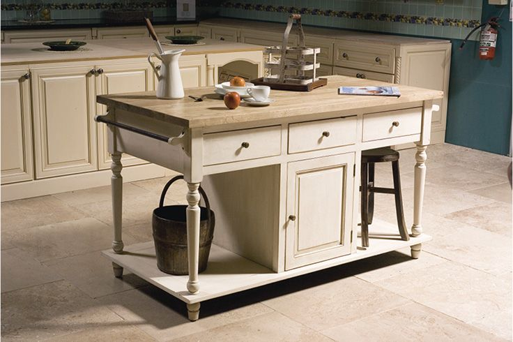 Rustic Country Style Kitchen Island | White Painted Birch Timber Base w/ Weathered Oak Top | Built to last, this classic design is also practical with plenty of storage available | Buy at Schots in Melbourne & Geelong, Australia or online at www.schots.com.au