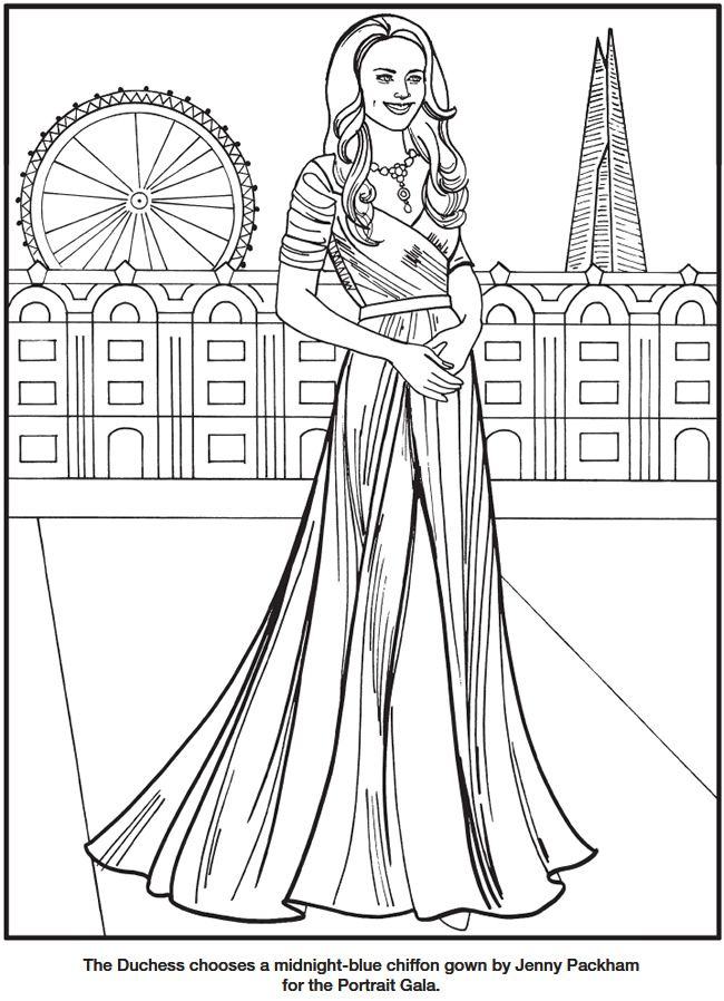 kate the duchess of cambridge royal fashions coloring book by eileen rudisill miller dover publications coloring page 3 - Fashion Coloring Pages