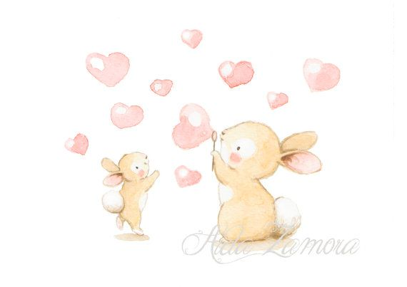 Nursery Art PINK BUNNY BUBBLES Art Print Bunny por AidaZamora