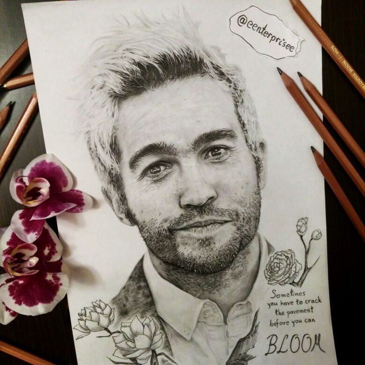 Pete Wentz pencil drawing ig @eenterprisee