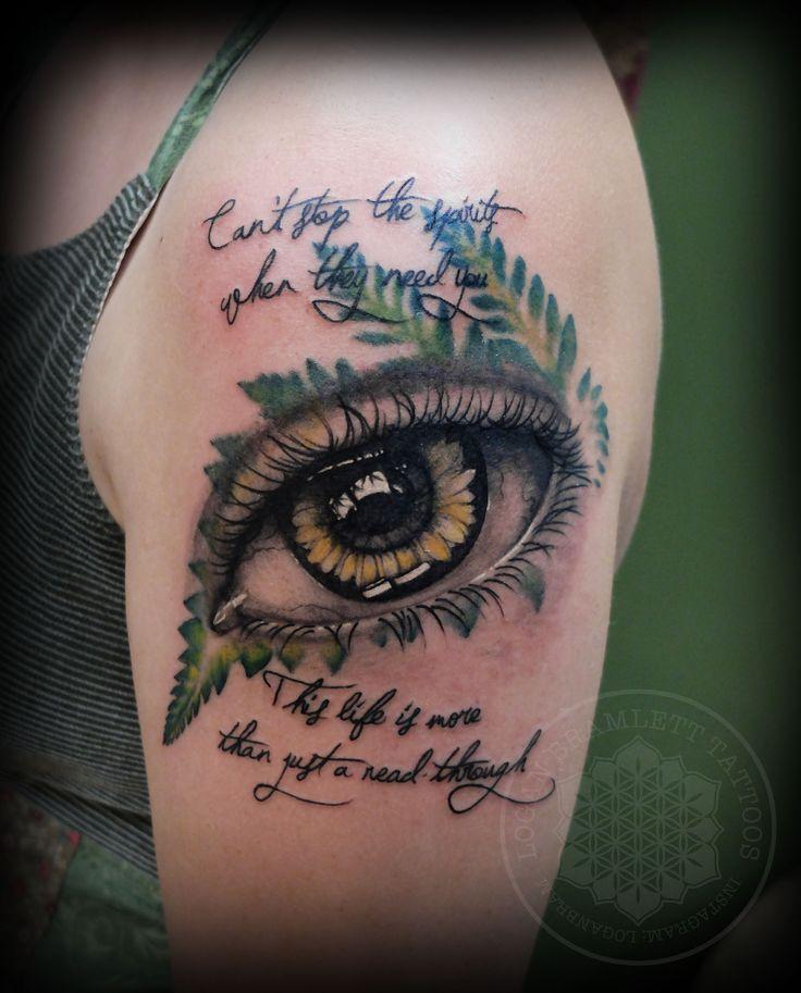 Fern and sunflower eye tattoo by logan bramlett follow me for Tattoo columbus ohio