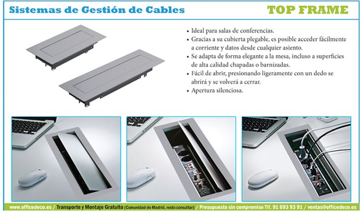 Top Frame Sistemas de Gestión de Cables, ideal para salas de conferencias.
