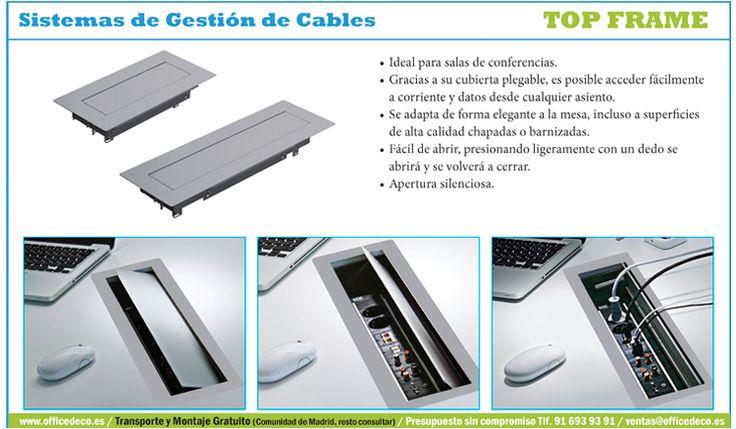 Top Frame Sistemas de Gestión de Cables, ideal para salas de conferencias.