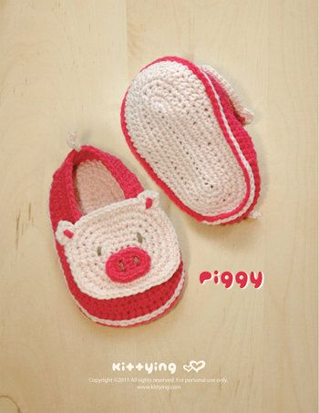 Piggy Baby Booties Crochet PATTERN SYMBOL DIAGRAM pdf from Kittying.com