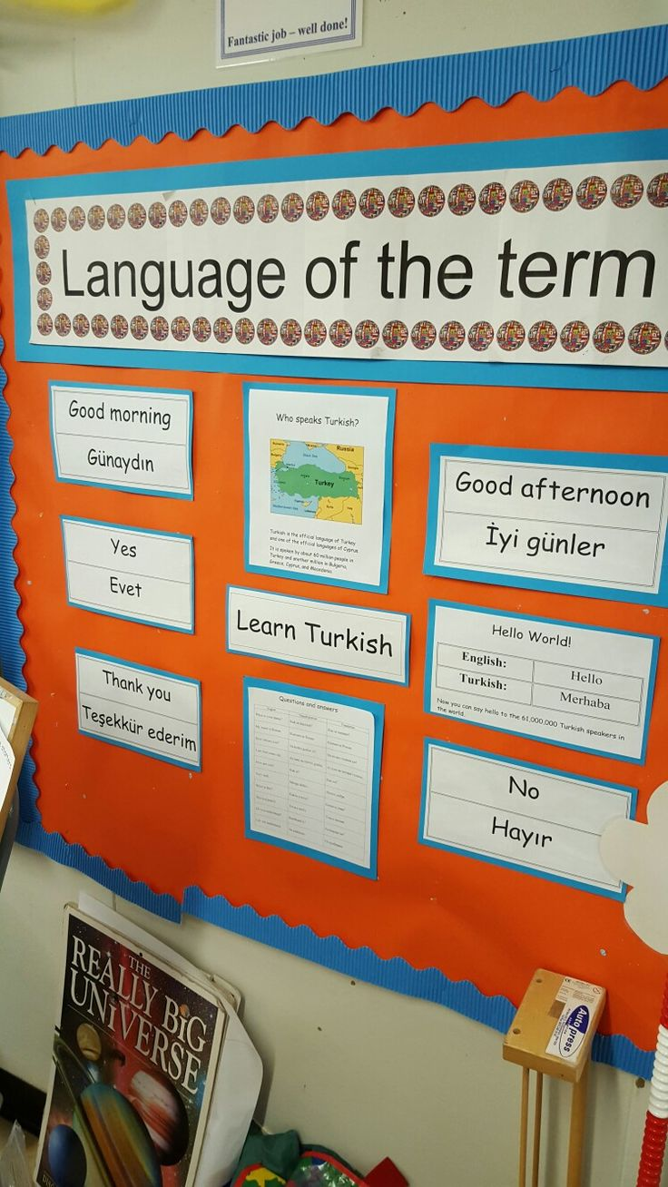 Each classroom displays the language of the term.