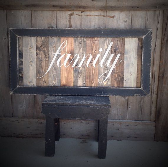 Sign Pictured measures 36 Inches wide 18 Inches Tall Frame distressed  Each Piece of wood is stained a different color  Once the stain is dry lettering is painted by hand in Ivory  Frame painted black once dry frame is distressed     ** Signs can be ordered in a larger size and different color Please send me a message for a quote :)  **I provide hangers for each sign  Signs are made when payment for your order is made.  **Each sign is made for you so each sign is unique no two are…