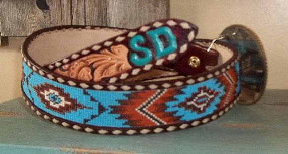 Handmade beaded belt by Deesbeadeddogcollars on Etsy