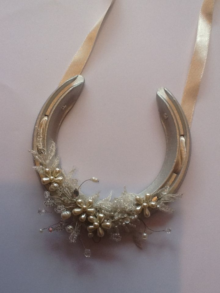 Vintage style lucky horseshoe. Real horseshoe decorated with pearls, crystals & lace. HF Couture copyright