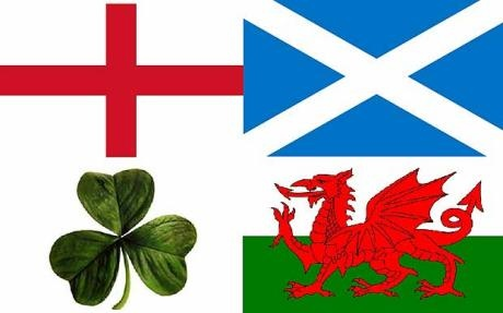 The official flags of England, Scotland, Ireland and Wales