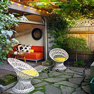Garage turned patios/deck ~ 16 smart strategies for small-home décor | Shop salvage | Sunset.com