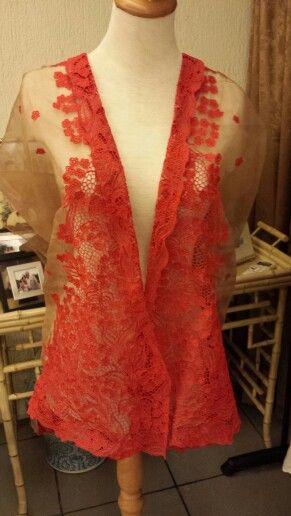 Nude and red organza silk kebaya