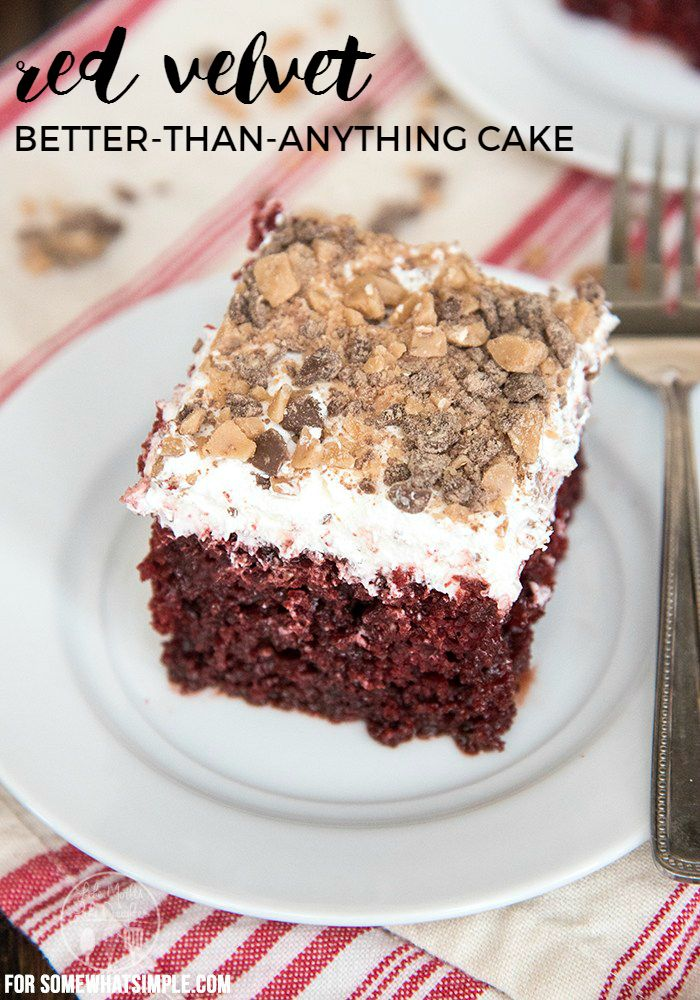 """Red Velvet Better Than Anything Cake - A simple """"better than"""" cake with a delicious new red velvet twist! Perfect for the holidays, or any occasion!"""