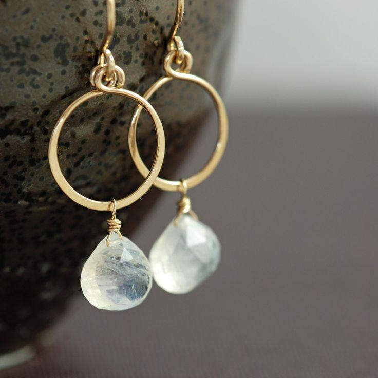 Moonstone Hoop Earrings in 14k Gold Fill, Gemstone Dangle Earrings Handmade