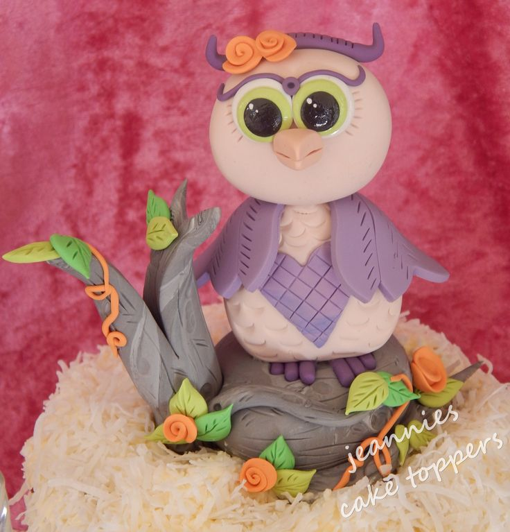 Polymer clay owl topper