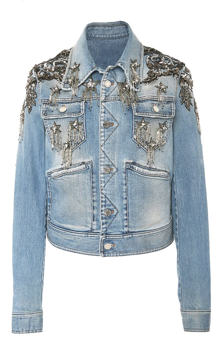 Star Embellished Denim Jacket by ROBERTO CAVALLI for Preorder on Moda Operandi