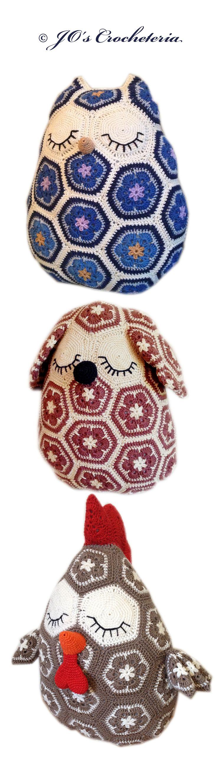 $14.50 USD African Flower Crochet Pattern Animal pillows - by JO's Crocheteria #crochet #crochetpattern #かぎ針編み #крючком #haken #crochetafricanflower #crochetafricanflowers #grannysquare #grannysquares #crochetgrannysquare #owl #dog #chicken #rooster #crochetowl #crochetdog #crochetchicken #crochetrooster #crochetthanksgivning #crochetpillow #joscrocheteria #cushion #blue #crochetblue #virka #crochetdogpattern http://www.ravelry.com/patterns/sources/african-flower-animal-pillows-e-book-8