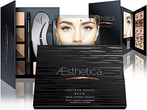 Aesthetica Cosmetics Brow Contour Kit - 15-Piece Contouring Eyebrow Makeup Palette - Includes Powders, Wax, Stencils, Spoolie/Brush Duo, Tweezers