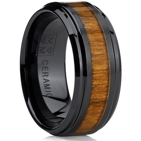 Oliveti Black Ceramic Ring Wedding Band with Real Koa Wood Inlay ($34) ❤ liked…