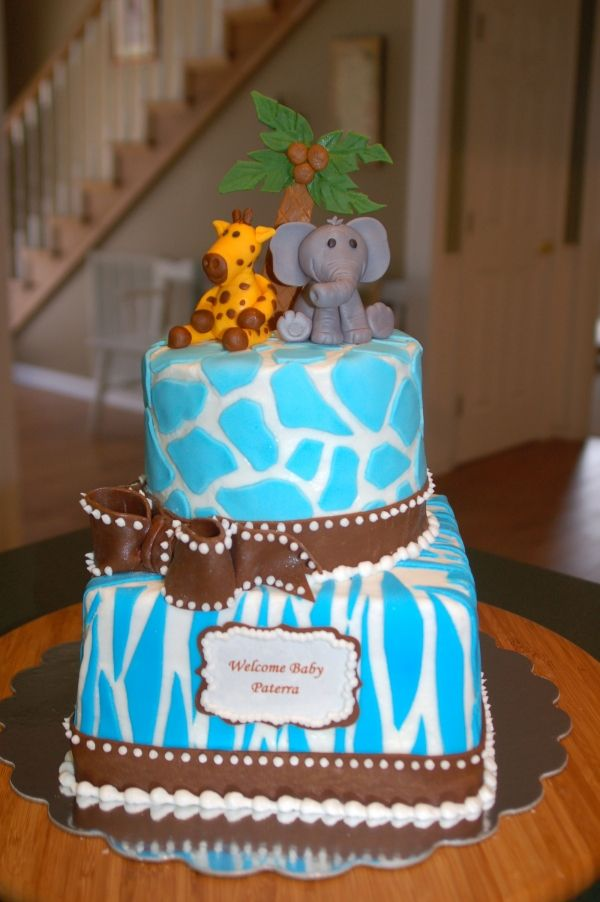 Pin Blue Giraffe Safari Baby Shower Cake Image Search Results On  cakepins.com
