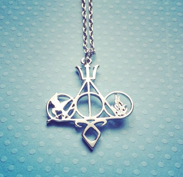Multifandom: Harry Potter, The Mortal Instruments, The Hunger Games, Percy Jackson, Divergent Necklace Silver SHIPS FROM USA