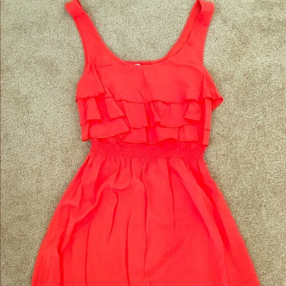 Dress Coral colored dress with ruffle on top. 100% rayon Xhilaration Dresses Mini