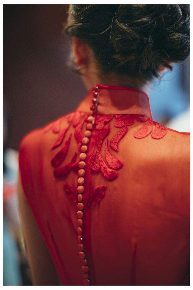 Celest Thoi bespoke Cheong Sam with custom embroidery design.   Oriental, red, red cheong Sam, Chinese wedding, traditional , wedding, bridal trend, bare back, statement back ,modern Cheong Sam