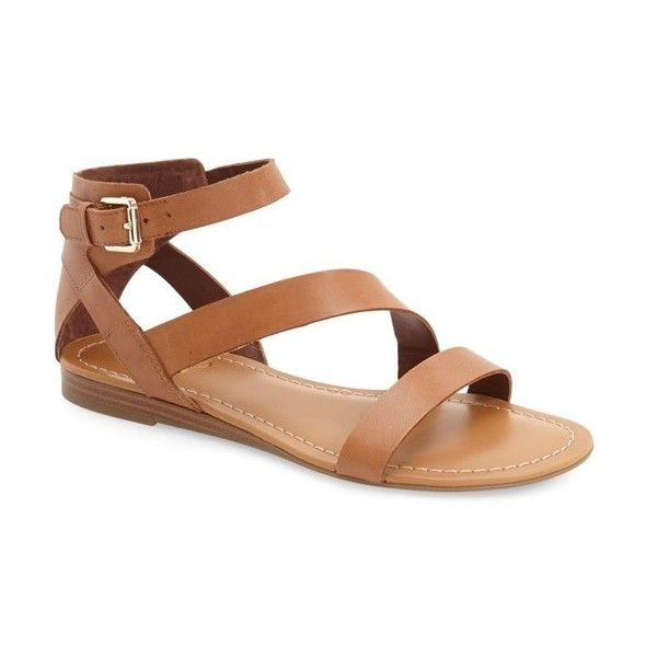 Franco Sarto 'Gracie' Ankle Strap Sandal (€62) ❤ liked on Polyvore featuring shoes, sandals, saddle leather, leather sandals, leather buckle sandals, leather shoes, ankle strap flat shoes and ankle tie flat sandals