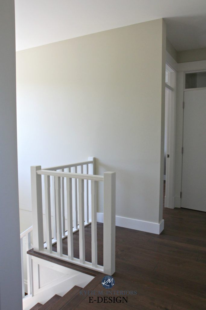 Sherwin Williams Wool Skein South Facing Hallway Stairwell White Railing Dark Wood Flooring Kylie M Interiors Edesign Online Virtual Paint Consultant