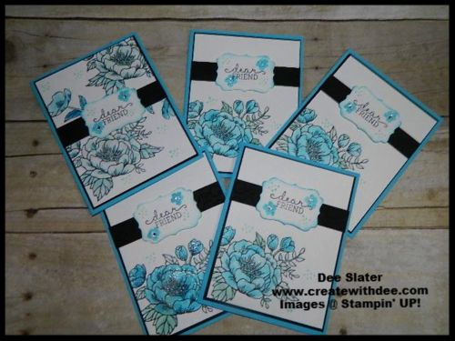 Birthday Blooms Stampin' UP! My May 2016 Swap Cards for my Team Swap using a blue color pallet as inspiration!
