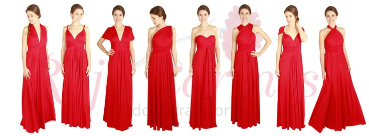 Rojo Carmesí Convertible Dress, perfect for bridesmaids. Vestido convertible en Rojo Carmesí, perfecto para damas de honor. Check it out on www.rojocarmesi.com