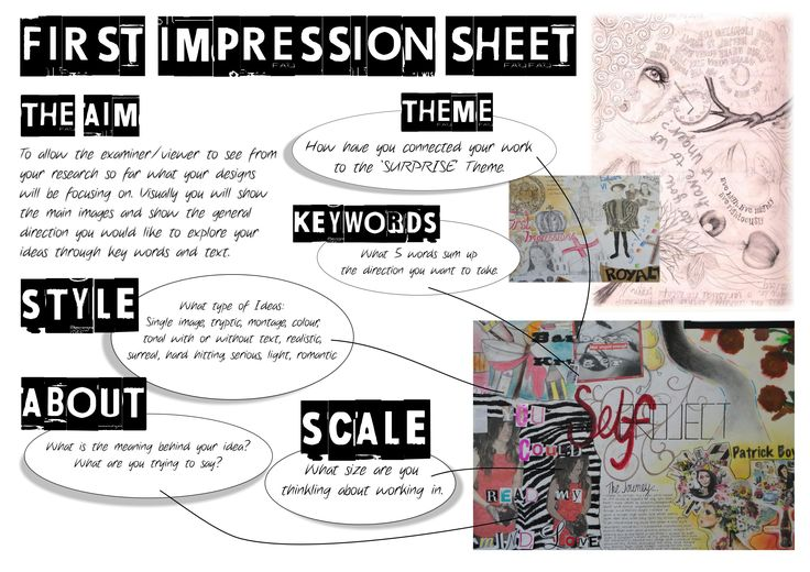 GCSE First Impression Sheet | Sketchbook Presentation Skills