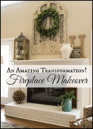 Fireplace before and after. Their fireplace before is the EXACT color of ours, I really want to do this!