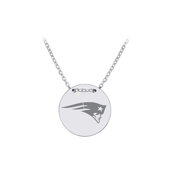 New England Patriots 18 Necklace in Sterling Silver Officially... ($90) ❤ liked on Polyvore featuring jewelry, necklaces, silver, round necklace, sterling silver disc necklace, cable chain necklace, nfl necklace and round disc necklace