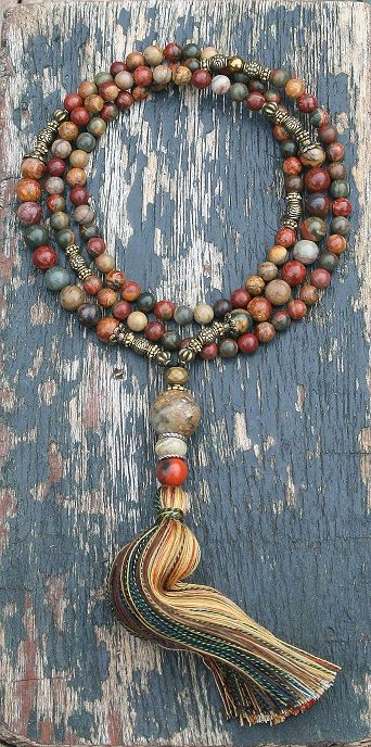 Mala necklace made ​​of 6 and 8 mm - 0.236 and 0.315 inch, beautiful jasper gemstones. Together they count as 108 beads. The mala is decorated with jasper, jade and hematite.  The total length of the mala necklace is approximately 87 cm - 34.25 inch.