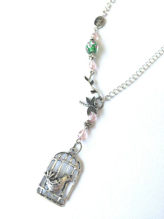 Pink/ green beaded necklace birdcage pendant necklace