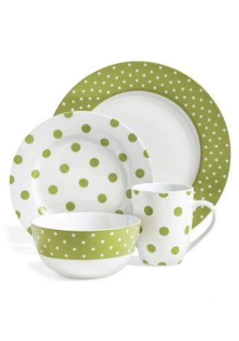 Polka dot dinnerware set via //rstyle.me/n/nwvw6pdpe  sc 1 st  Pinterest & 161 best Green and White China images on Pinterest   Dishes Tea ...