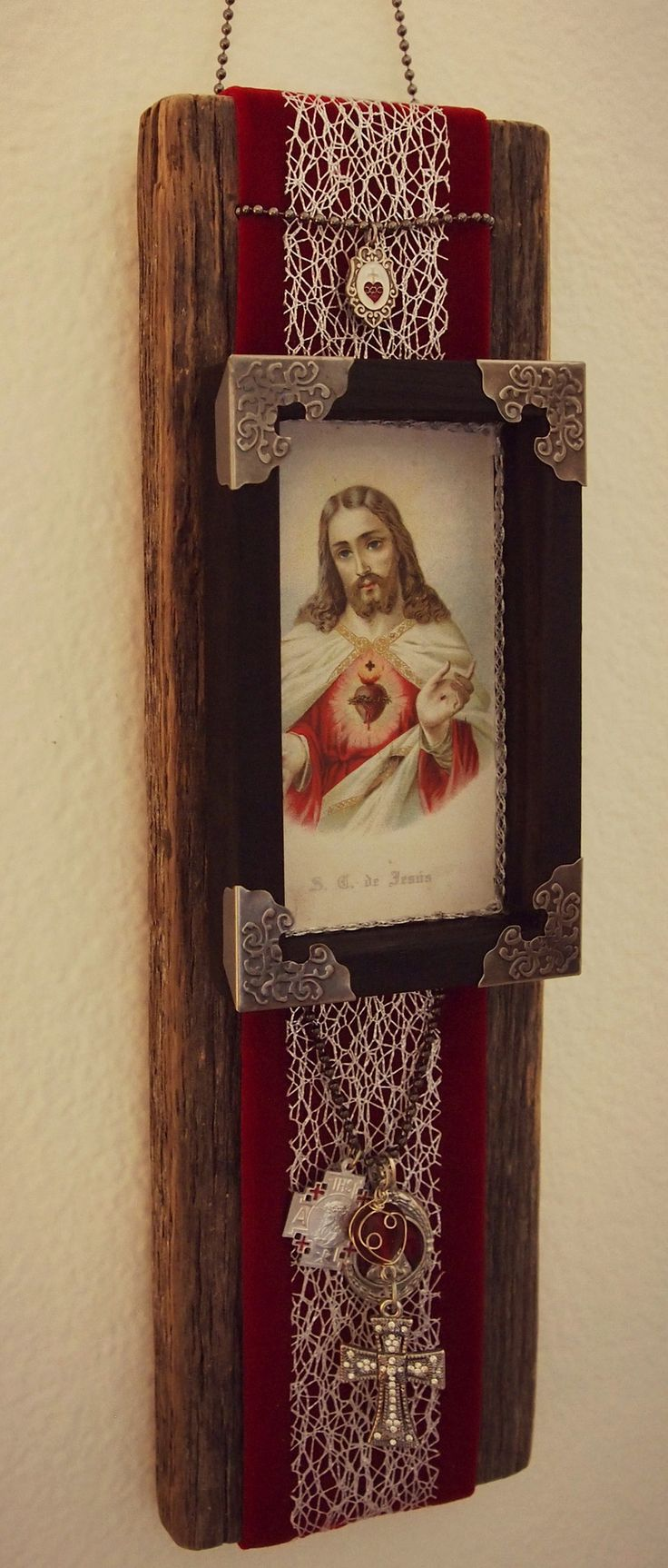 Wall Decor Jesus : Sacred heart of jesus rustic handmade catholic wall art