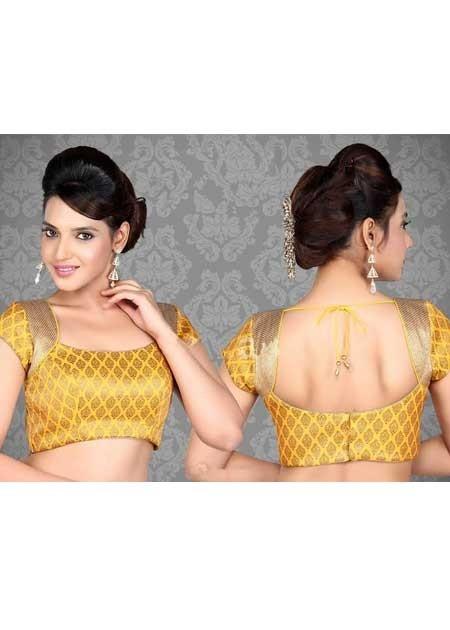 Sparkling Yellow Saree Blouse