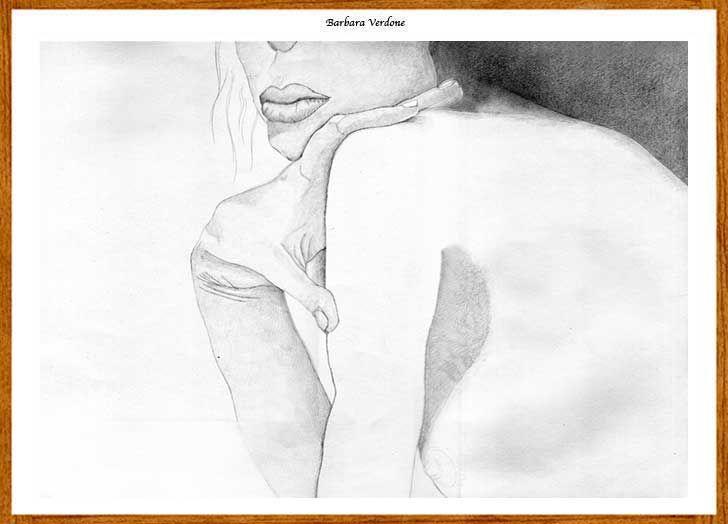 """dal sito di Renzo Verdone nelle pagine della Bottega Verdone l'opera a matita di Barbara Verdone """" un filo di malinconia"""""""