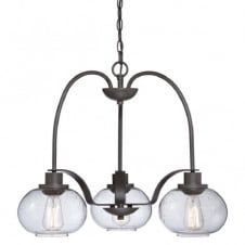 TRILOGY vintage 3lt chandelier with bronze chain suspension and frame complete with clear seeded glass shades