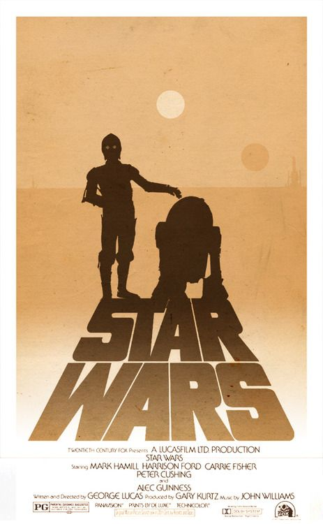 I love that in this poster, C-3PO and R2D2 are headed into the Tatooine sunsets, lifelong friends.
