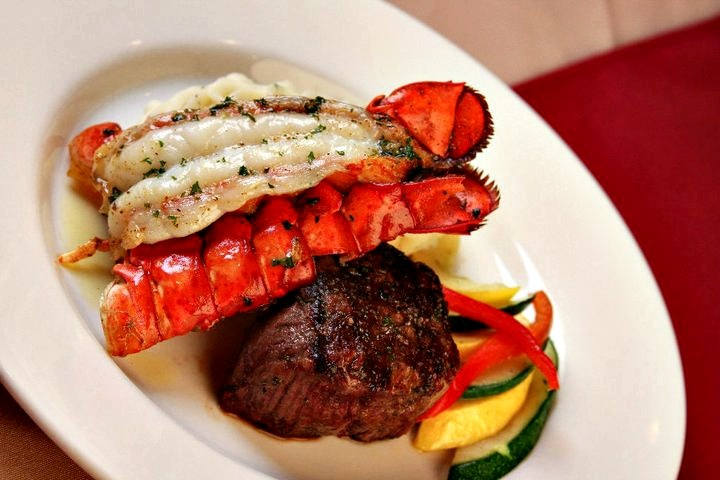 Steak and lobster at Saltwater Grill