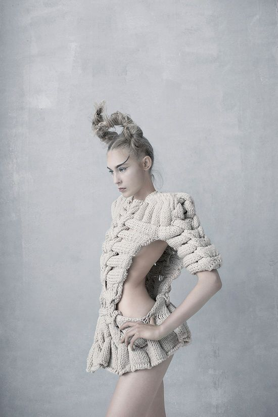 Artistic Knitwear Design with intricate interlocking design; sculptural fashion // Sandra Backlund