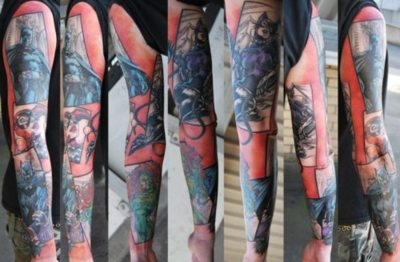 """""""Well, here it is. My finished Batman sleeve. The artwork is from Jim Lee's penciling in the Hush Series. The tattoo artist is Kris Barnas @ Wildcat Ink in Stephens Green, Dublin, Ireland. The sleeve won Best Sleeve Tattoo at the Dublin International Tattoo Convention 2012 just this past weekend. I've been a huge Batman fan all my life, now I am beyond pleased I have this!"""""""