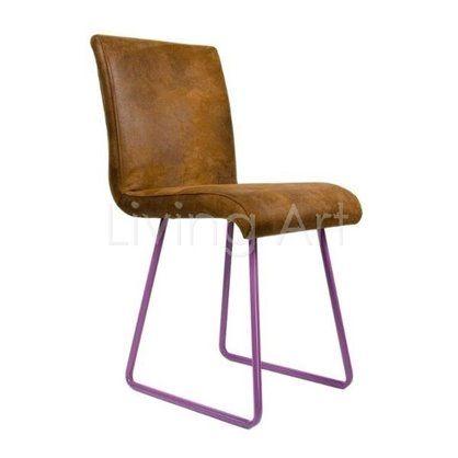 Krzesło z ekoskóry na turkusowych płozach