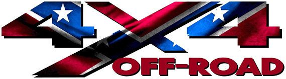 4x4 Off Road Rebel Confederate flag truck decal/sticker jeep