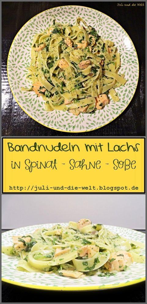 Bandnudeln mit Lachs in Spinat-Sahne-Soße / http://juli-und-die-welt.blogspot.de/