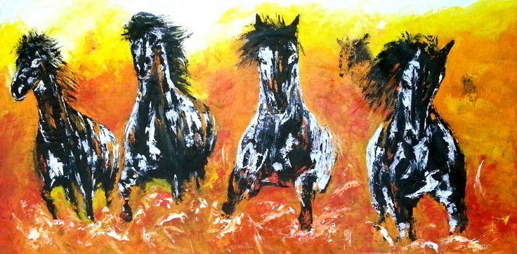 Özgürlüğe Doğru (Way to Freedom) by Mesut Kırmızıgül Tuval üzerine #YağlıBoya / #Oiloncanvas 120cm x 60cm 4.100₺ / 1.150$  #gallerymak #sanat #evdekorasyon #ressam #modernsanat #beygir #figuratif #design #gününkaresi #dekorasyon #turuncu #salon #tasarim #hayvan #aygır #cizim #artforsale #wildlife #exhibition #mustang #horse #oilpainting #paintings #artgallery #renk #drawing #contemporaryart #natgeo
