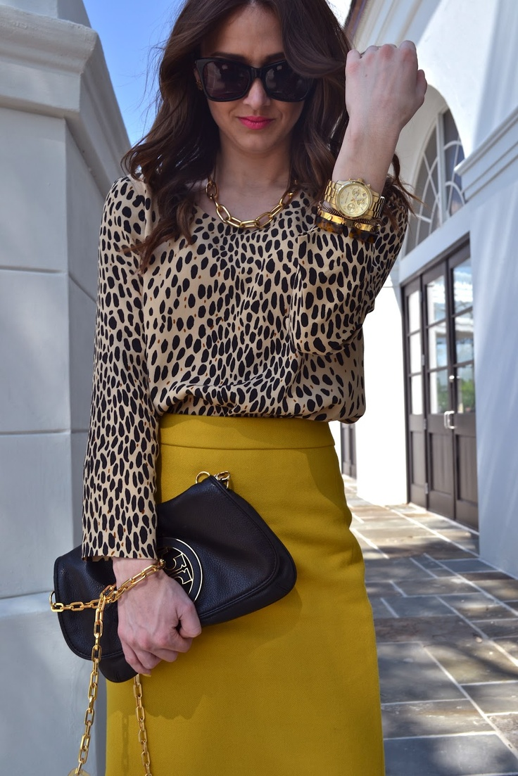 mustard skirt and animal print blouse.. amazing!!